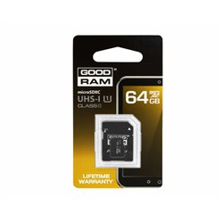 KARTA PAMIĘCI MIKRO SD 64GB+ADAPTER UHS-1 Class10 GOODRAM