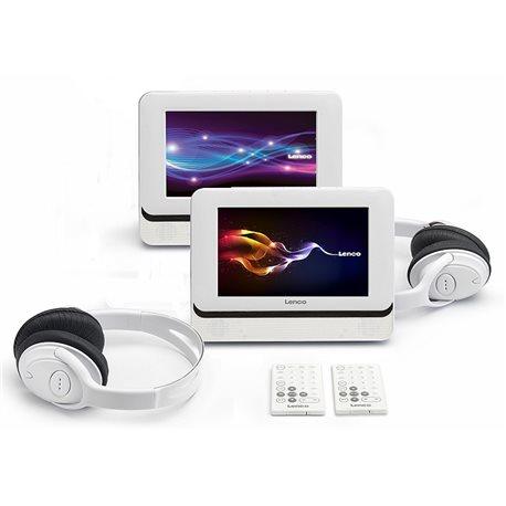 LENCO ODTWARZACZ PRZENOŚNY PODWÓJNY DVD DVP7401 DVD+USB+PILOT+SŁUCHAWKI /WHITE/