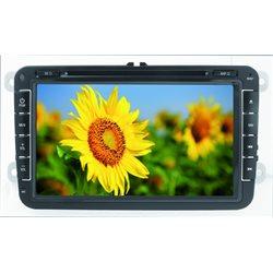 "VM077 STACJA MULTIMEDIALNA +NAVI PHONOCAR VW SEAT SKODA 8"" 2-DIN +DVD+NAV+BT BEZ MAPY"