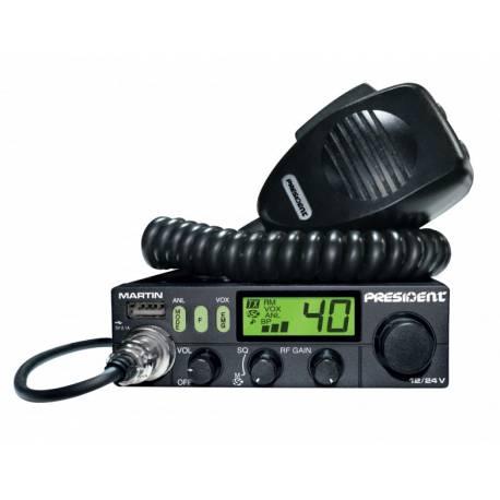 RADIO CB PRESIDENT MARTIN z ASC automatyczną blokadą szumów AM/FM 12V/24V